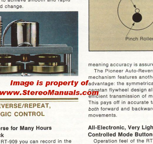 Pioneer RT-909 Reel to Reel (Open Reel) Color Dealer Sales